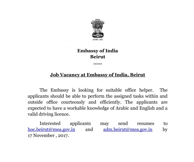 Embassy of India Beirut, Lebanon(Official Website) - EOI