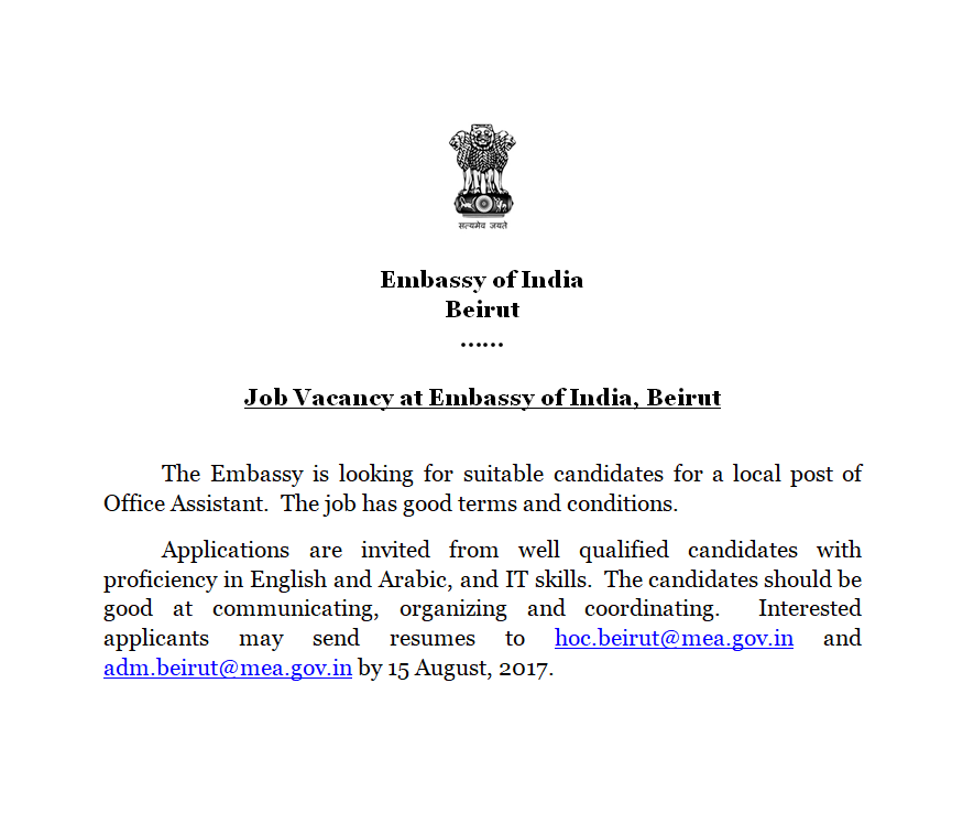 Embassy of India Beirut, Lebanon(Official Website) - EOI